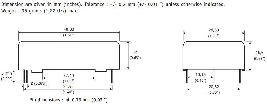 隔离电压1500vdc  内部集成lc emi滤波器  永久性短路保护  内无光耦